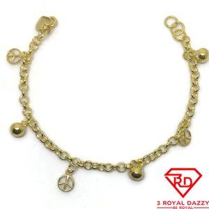 Bell & peace charms 7 inch Bracelet 999 gold